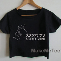 New Studio Ghibli Funny Logo Crop top Tank Top Women Black and White Tee Shirt - MM1