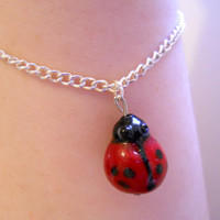 Ruby Red and Black Ladybug Art Glass Bead Charm Bracelet