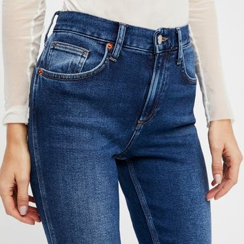 Free People Deep Cuff Skinny Jeans