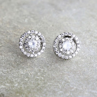 Sure to Stun Silver Rhinestone Earrings