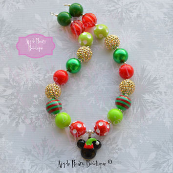micky christmas necklace minnie mouse christmas necklace elf mickey chunky necklace santa minnie bubblegum necklace