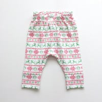 Christmas baby leggings with red and green fair isle pattern. Comfy toddler pants. White knit fabric with watercolor nordic pattern.