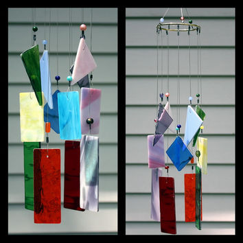 18 Inch Multi Color Stained Glass Wind Chimes Indoor Outdoor Garden Decor Glass Windchime