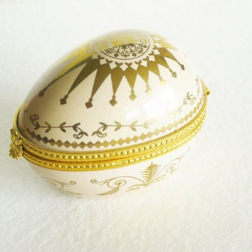 Estee Lauder Keepsake Egg Trinket Box with Private Collection Perfume and Bottle. Vintage Circa 1970's. Gold. Porcelain.