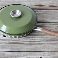 Green Cathrineholm Enamelware Frying Pan