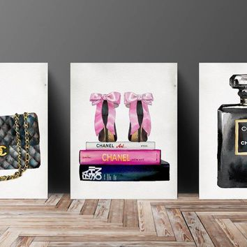 Wall Art  Poster Print - COCO CHANEL, Shoes, Book, Handbag Vogue - Famous Fashion Quote - Black WaterColor- 633, 630, 632