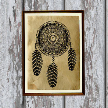 Dream catcher print Native American poster  Tribal decor
