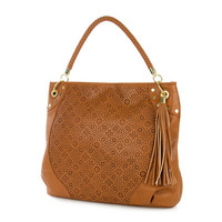 South Hill Cognac Faux Leather Hobo Bag