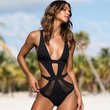 One Piece Swimsuit 2018 Women Sexy Swimsuit Swimwear Lace Solid Bathing Suit Backless Monokini Summer Holiday Beach Wear Swim