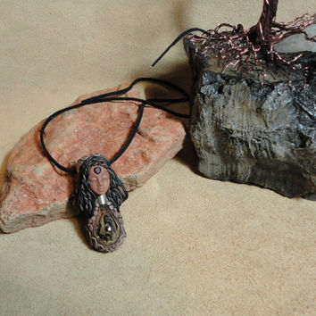 Garnet and healing Herbs Spirit Goddess Pendant Healing herbs Necklace Sam Art Vortex Clay Jewelry
