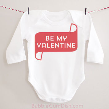 Be My Valentine Valentine's Day Outfit Long Sleeved Baby Bodysuit Onepiece Toddler Outfit Valentine Shirt