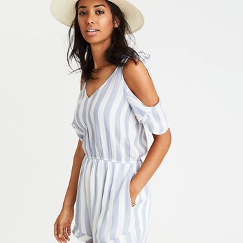 AEO Tie Shoulder Romper, Blue