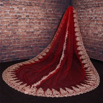 Red White Ivory Real Photo Luxury Gold Lace Embroidery long Bridal Veils Elegant Tulle Bridal Wedding Accessories