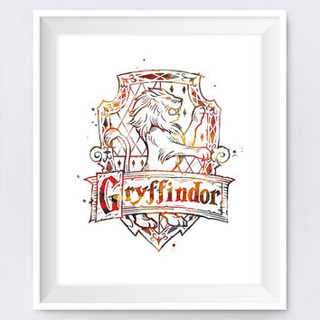 Gryffindor Crest Watercolor illustration Harry Potter House Artwork Gifts Hogwarts Print Niffler Gryffindor Wall Art Digital Download