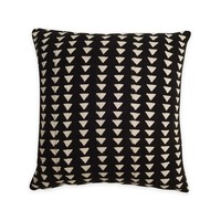 Black with White Triangle Print Mudcloth Pillow by Consort