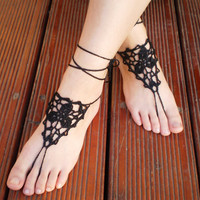 Black barefoot sandals by Crochetpurses
