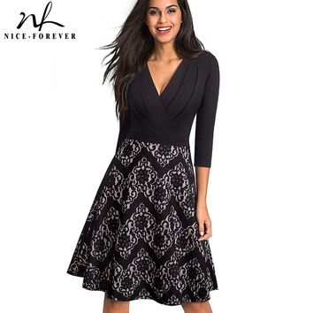 Nice-forever Vintage Embroidery Flower Lace vestidos Sexy Ruffle Deep V-Neck A-Line Pinup Business Women Flare Dress A074