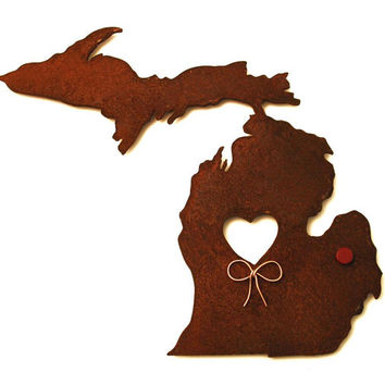 Michigan State Map Metal Wall Art Sculpture - State Sculpture - State Silhouette - State Decor - Rustic - Rusty