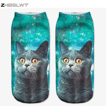 ZHBSLWT 3D Sock Print Lovely Cat Time-limited Ruched Polyester Contrast Color Meias Women Socks Casual Cute Character Unisex