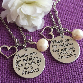 Set of 2 Mother In Law Necklace - Wedding Gift - Thank you for raising the man of my dreams - Woman of my dreams - Mother of the Bri