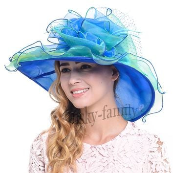 Elegant Kentucky derby church wedding Hat organza mesh flowers dress sun hat