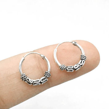 Sterling Silver Bali Hoop Earrings, 12mm Tiny Hoop Earrings, Tribal Cartilage Hoop Earrings, Helix Hoop Earrings, silver hoop earrings, gift