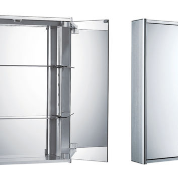 Double two sided mirrored door medicine cabinet