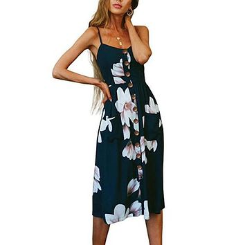 Bohemian Floral Printed Party Midi Dress