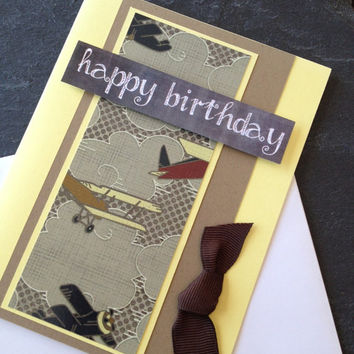 Handmade Happy Birthday Greeting Card, Great for a Child, Boy, Son, Nephew, Father, Grandfather, Scrapbook Paper, Planes and Chalkboards