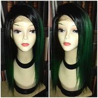 Balayage Dip Dye 8A Remy Custom U Part Wig Virgin Lace Front Wig Brazilian Ombre Balayage 1b Off Black Green