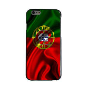 DistinctInk® Hard Plastic Snap-On Case for Apple iPhone - Portugal Waving Flag