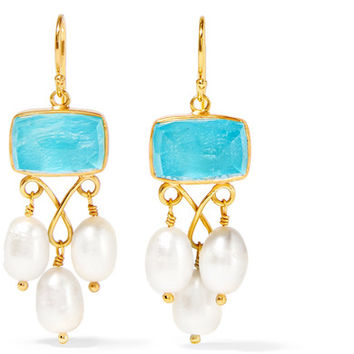 Katerina Makriyianni - Gold-plated, pearl and quartz earrings