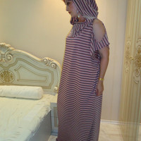 Lame Maxi dress with hood Kaftan with hood Caftan Robe Top Long dress with hood Oversized dress / All sizes available Us Uk Eu