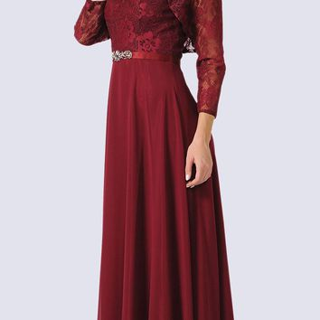 Sleeveless A-line Formal Dress with Mid Sleeves Lace Bolero Burgundy