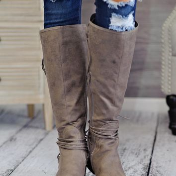 * Ellie Tall Boot With Lace Up Back : Taupe