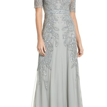 Adrianna Papell Embellished Mesh Gown   Nordstrom