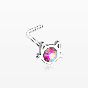 Adorable Cat Face Iridescent Sparkle L-Shaped Nose Ring