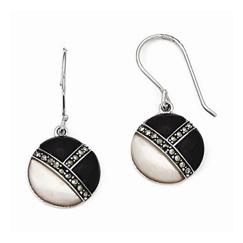 Sterling Silver Marcasite MOP & Onyx Shepherd Hook Earrings