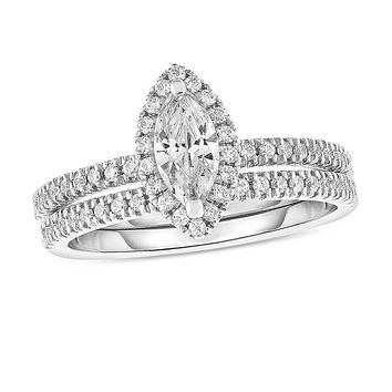 1 CT. T.W. Marquise Diamond Frame Bridal Engagement Ring Set in 14K White Gold