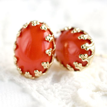 Coral Orange Stud Earrings Coral Gold Post Great Gatsby Jewelry Vintage Style coral and Gold Wedding