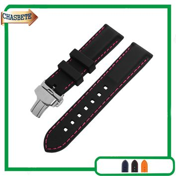 Silicone Rubber Watch Band for Fossil Watchband 22mm Men Women Strap Resin Loop Bracelet Belt Wrist Black + Tool + Spring Bar