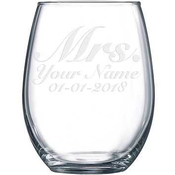 Personalized Etched Mrs. Wedding Stemless Wine Glass 17.2oz