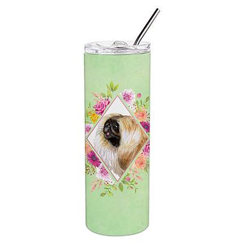 Pekingese Green Flowers Double Walled Stainless Steel 20 oz Skinny Tumbler CK4326TBL20