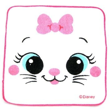 Small Marie Aristocats Cat Face Bow Tie Print Handkerchief Face Towel | Disney