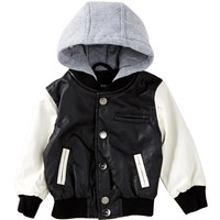 Urban Republic | Fleece Hooded Faux Leather Varsity Jacket (Baby Boys) | Nordstrom Rack