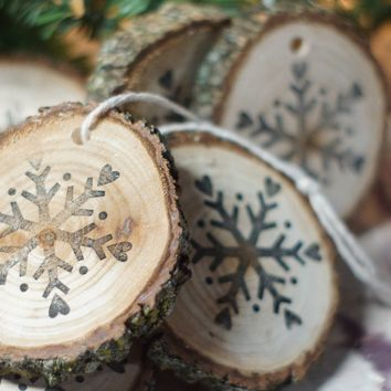 Snowflake Ornaments, Stamped Christmas Ornament Set