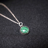 Tiny Sterling Silver Malachite Necklace - Green Stone Necklace - Crown Pendant - Malachite Healing Heart Chakra Healing
