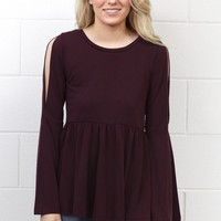 Cut Out Sleeves + Smocked Peplum Blouse {Plum}