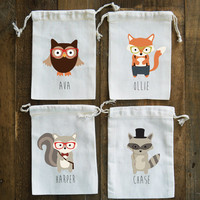 Hipster Woodland Animals Birthday Party Muslin Favor Bag // Set of 10 //