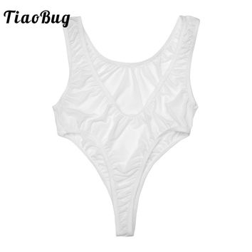 2018 TiaoBug Sexy High Cut See-through Womens Bodysuit Sleeveless DeepV Neck Jumpsuits One Piece Backless Thong Leotard Bodysuit